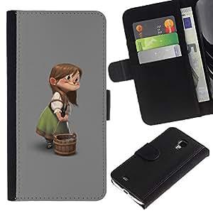 KingStore / Leather Etui en cuir / Samsung Galaxy S4 Mini i9190 / El carácter de los niños muchacha de la historieta;