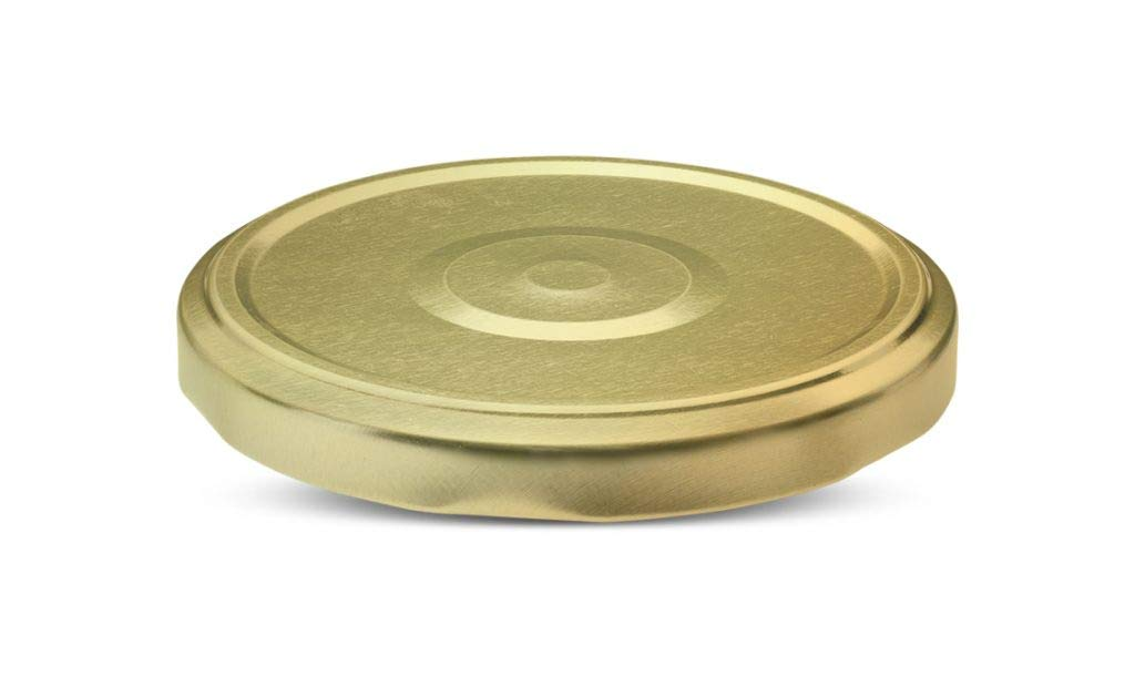 Nakpunar 24 pcs 100TW Gold Canning Lids - BPA Free Plastisol lined, 6 Lugs, Made in USA