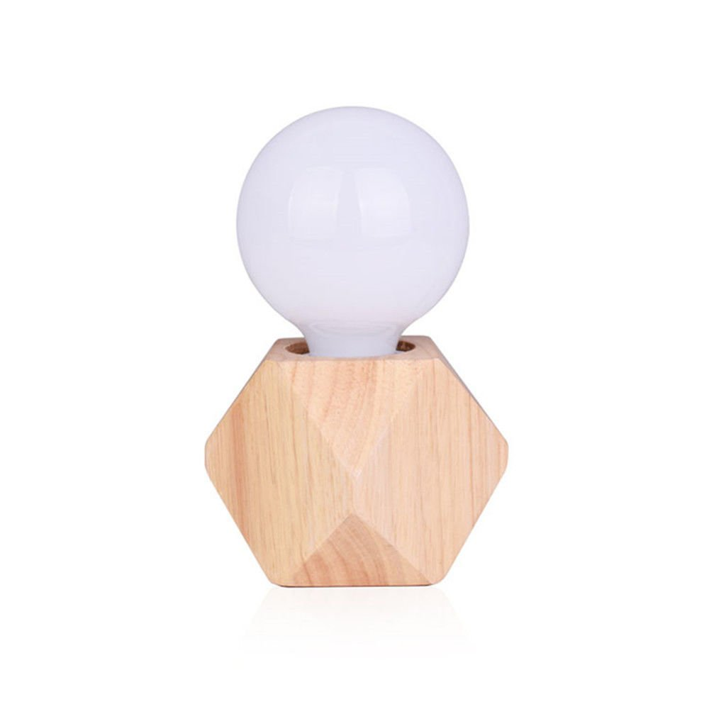 Wall Lamps,Creative Diamond Nordic Table lamp Retro Decoration Study Living Room Bedroom Warm Bedside lamp Solid Wood Small Table lamp Bracket Light by ExpensiveLight (Image #4)
