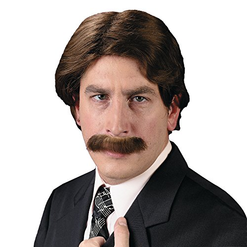 Men's 70s Wig & Mustache Set (70s Cop Costume)