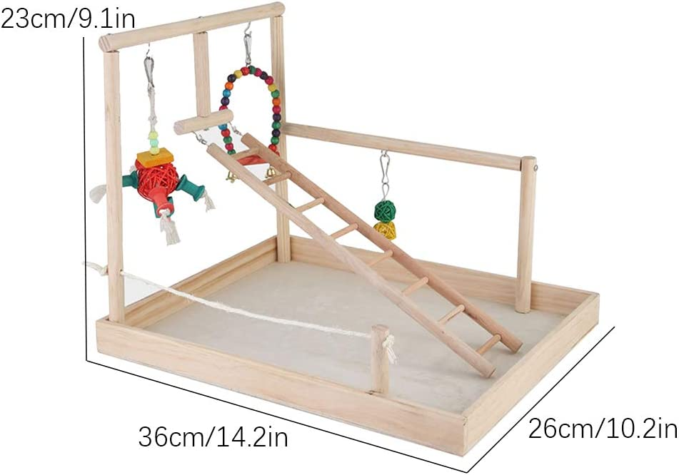 Parrot Wooden Playground, Bird Play Stand Cockatiel Wood Gym Playstand Entrenamiento Estante Perca Parque infantil Escalera Columpio Juguetes con cuentas de madera coloridas Campanas Juego ejercicios: Amazon.es: Hogar