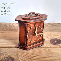 Decorative Desk Clock, Wooden Clock, Shelf Clock, Table Watches, Office Decor, Home / Office Design, Handmade Clock, Hexagonal, Brown