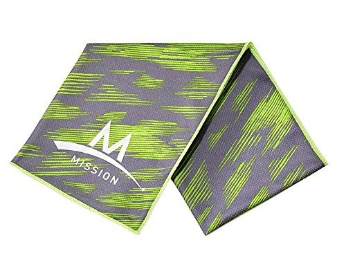 Mission Enduracool Techknit Cooling Towel  Large  Slash High Vis Green Grey