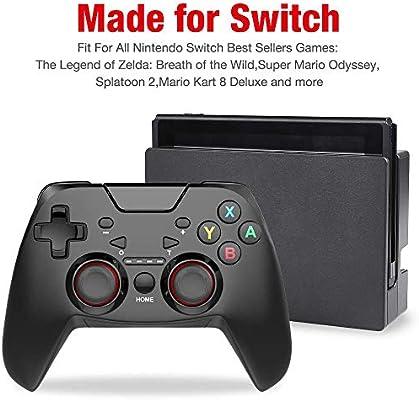 Controlador OMKARSY para Nintendo Switch, Bluetooth 6-Axis Somatosensory Switch Controllers Control inalámbrico del juego Joystick Gamepad, con ajustable Turbo Dual Shock Gyro Axis: Amazon.es: Videojuegos