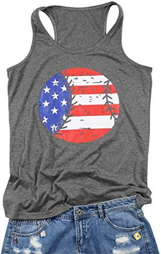 FLOYO July 4th Tank Top Women Amercian Flag Print Baseball Graphic Print Racerback Sleeveless Tank Size S (Grey)