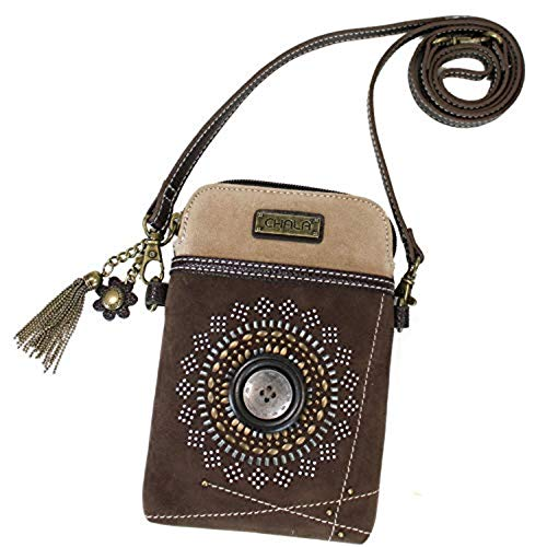Chala Crossbody Cell Phone Purse - Women Faux Suede Multicolor Handbag with Adjustable Strap - Starburst - Dk Brown - Fabric Over Leather