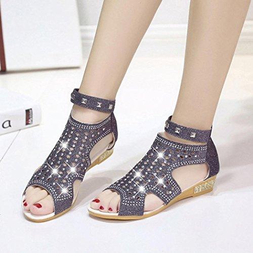 Frauen Lackleder Sandalen Low-Heel Hohl Schuhe Atmungsaktive Schuhe
