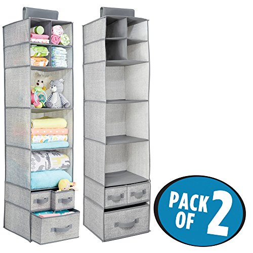 mDesign Soft Fabric Over Closet Rod Hanging Storage Organizer with 7 Shelves and 3 Removable Drawers for Child/Baby Room or Nursery - Textured Print - Pack of 2, Gray