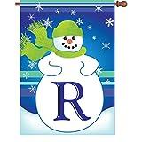 Premier Kites 52017 Winter Monogram House Flag, Letter R, 28-Inch For Sale