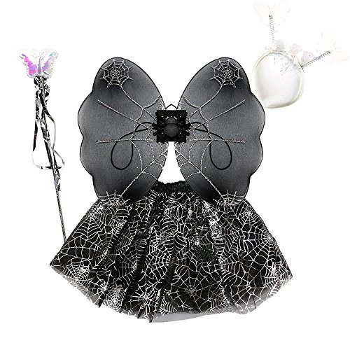 VITORIA'S GIFT 4Pcs Girls Costume with wings,Tutu, Wand and Floral Wreath Veil