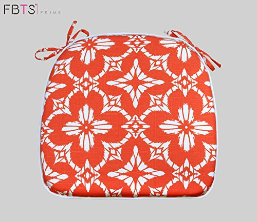 Chair Cushion 16 by 17 Inches Indoor Outdoor Seat Pad Square (Pack of 2, Orange, Kaleido) Mat Cover Protector for Garden Patio Home Kitchen Office by FBTS Prime (Outdoor Pads)