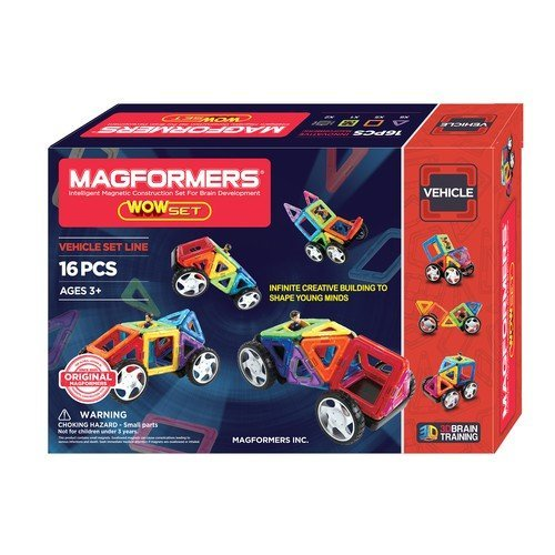 Magformers Vehicle Wow Set (16-pieces) Magnetic Building Blocks, Educational Magnetic Tiles Kit, Magnetic Construction STEM Toy Set includes wheels