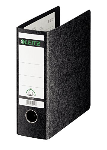 Leitz 2-Ring 3-Inch Premium Linen Textured A5 Sized European Binder, Black (1075)