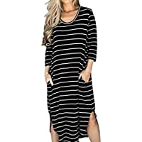 GONKOMA Womens Striped Loose Long Dress Beach Casual T Shirt Dress