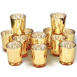 Volens Gold Votive Candle Holders, Mercury Glass Tealight Candle Holder Set of 12, 2.67in Height