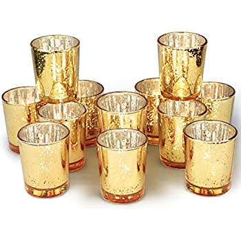 Gold Candle Holders for Tables at Weddings Parties ARTISANS VILLAGE Mercury Glass Votive Candle Holders Bulk Set of 36 Special Occasions with Weighted Base and Speckle,Vintage Glow