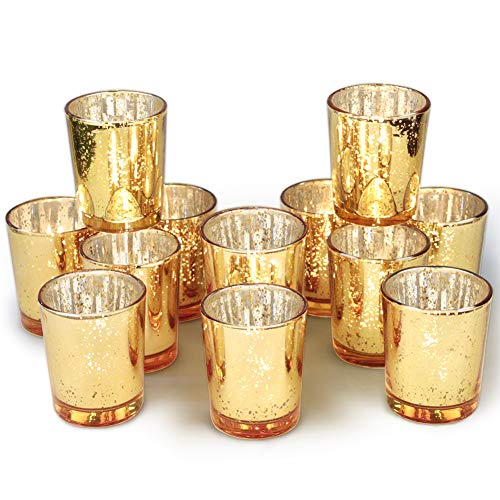 Tea Light Holders (Volens Gold Votive Candle Holders Bulk, Mercury Glass Tealight Candle Holder Set of 12 for Wedding Decor and Home)