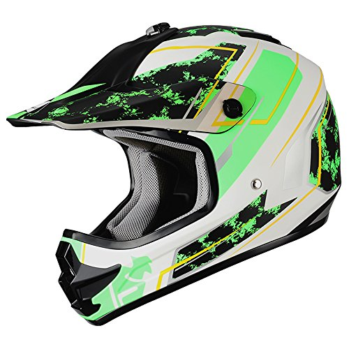 "Triangle Youth OffRoad Motorcycle Helmets ""Stain"" Sport ATV Motocross Dirt Bike [DOT] Green (Large)"