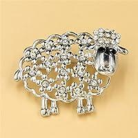 Silver Sheep Shape Wedding Crystal Rhinestone Bridal Party Jewelry Brooches Pin