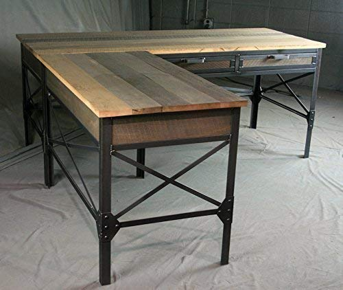 the latest 437a1 922f3 Amazon.com: French industrial L-shaped desk with drawers ...