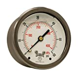 """Winters PFQ Series Stainless Steel 304 Dual Scale Liquid Filled Pressure Gauge with Brass Internals, 0-60 psi/kpa,2-1/2"""" Dial Display, -1.5% Accuracy, 1/4"""" NPT Center Back Mount"""