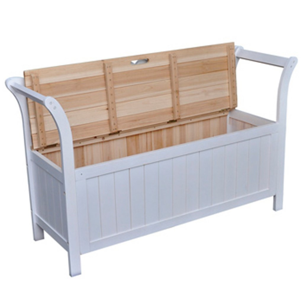 vidaXL Wooden Storage Bench White Bench Seat Wooden Seat Home Chair ...