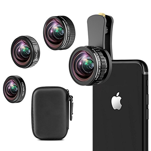 iPhone Camera Lens Kit, 235° Fisheye Lens + 15x Macro Lens, 0.4x Wide Angle Lens + 12x Macro Lens, Clip-On Lens Kit for iphone x, 8 7 6 6s plus, Samsung Smartphones by ARORY