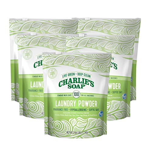 - Charlie's Soap - Fragrance Free Laundry Powder - 100 Loads (Five 100-load Bags, 500 Total Loads)