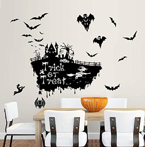 Wall Stickersflying Bat Witch Skull Pumhpkin Wall Sticker Happy Halloween Day Trick Or Treat Window Decoration Festival Wall Decals Poster -
