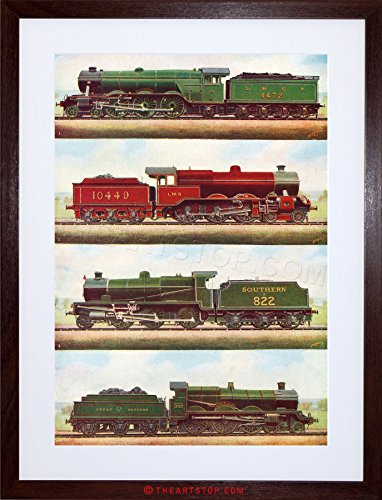 (The Art Stop Transport Vintage Painting Train Engine LOCOMOTIVES Steam Framed Print F97X3701)