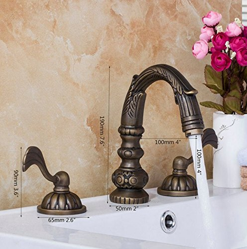 GOWE Wash Basin Double Handles Antique Brass Waterfall Deck Mount Bathroom Basin Sink Bathtub Mixer Tap Faucet 1