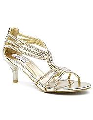 SheSole Womens Metallic Kitten Heels Sandals Wedding Shoes