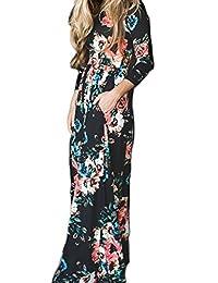 Women's Elegant Long Sleeve Loose Floral Print Maxi Dress Black XS