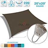 Patio Paradise 20'x 20' Strengthen Large Sun Shade Sail Reinforced by Steel Wire- Brown Square Heavy Duty Permeable UV Block Fabric Durable Patio Outdoor Garden Backyard