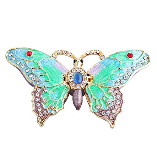 - YU FENG Butterfly Figurine Collectible Trinket Box Hinged Bejeweled Hand-Painted Ring Holder Mother`s Day Gift
