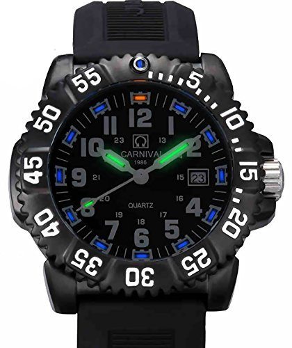 Men's Tritium Luminous Watch H3 Rotatable Bezel Stainless Steel Case Rubber Band Military Quartz Watches
