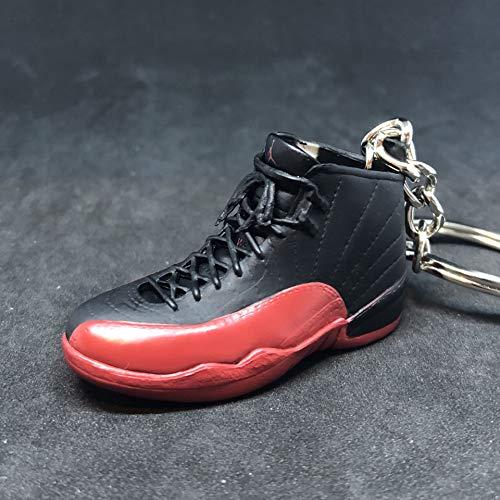Air Jordan XII 12 Retro Flu Game Black Red OG Sneakers Shoes 3D Keychain 1:6 Figure ()