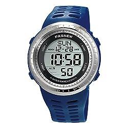 Sport Watch for Men and Women, Multifunctional Wrist Clock, Dual Time Digital Display, 3ATM Waterproof, EL Backlight,12 Group Stopwatch, Countdown Timer, 3 Alarms, Power Saving Function (Blue)