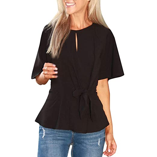 d7bc5841 Xindeek Women's Chiffon Short Sleeve Blouse Bow-Tie O-Neck Slim Fit Button  Down