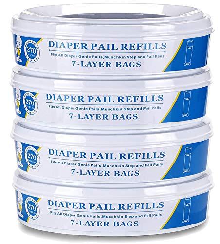 Diaper Genie Refill Bags for Munchkin Playtex Diaper Geine,1080 Count-4PACK