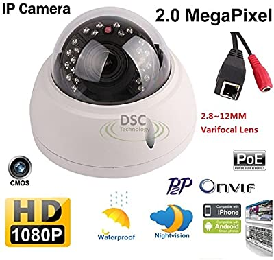 1080P Vandalproof Dome IP Camera 2.0MP 2.8-12mm Varifocal Zoom Lens PoE Security Camera CCTV Camera Day&Night Network Camera Support Onvif from Diysecuritycameraworld