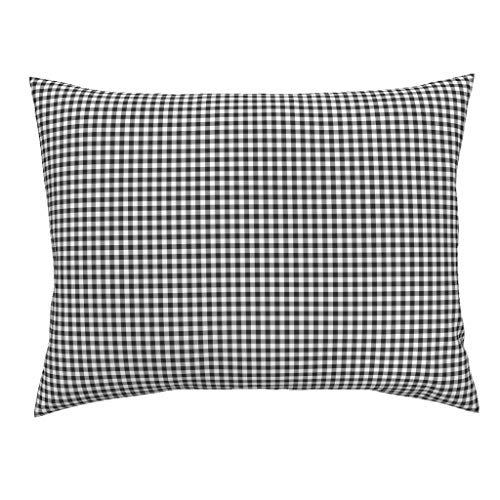 (Roostery Plaid Standard Knife Edge Pillow Sham Gingham Black and White Rustic Farmhouse Checker by Shopcabin 100% Cotton)