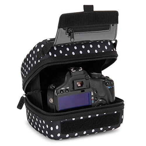 USA GEAR Hard Shell DSLR Camera Case (Polka Dot) with Molded EVA Protection, Quick Access Opening, Padded Interior and Rubber Coated Handle-Compatible with Nikon, Canon, Pentax, Olympus and More (Polka Dot Crate)