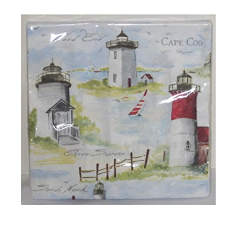 assachusetts Light House Luncheon Napkins ~ Three Sisters Wood End & Sandy Neck by Nantucket Distributing (Kids Korner 3 Light)