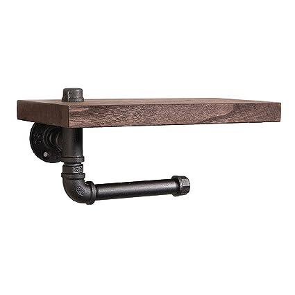 Shelfhx Baño creativo Toallero de madera Industrial Tubería de agua Steampunk Metal Hierro forjado Soporte de
