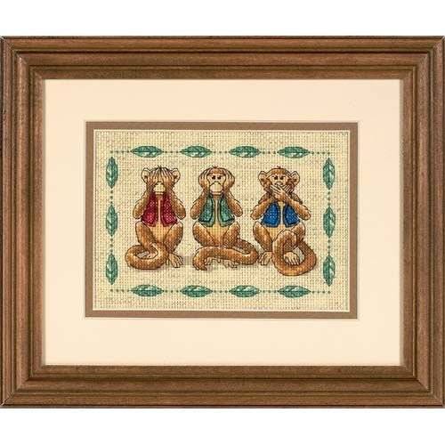 Dimensions Needlecrafts Counted Cross Stitch, See No Evil by Dimensions Needlecrafts