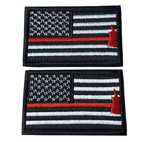- Bundle 2 Pieces American Flag Patch Thin Red Line US Firefighter Emergency Rescue