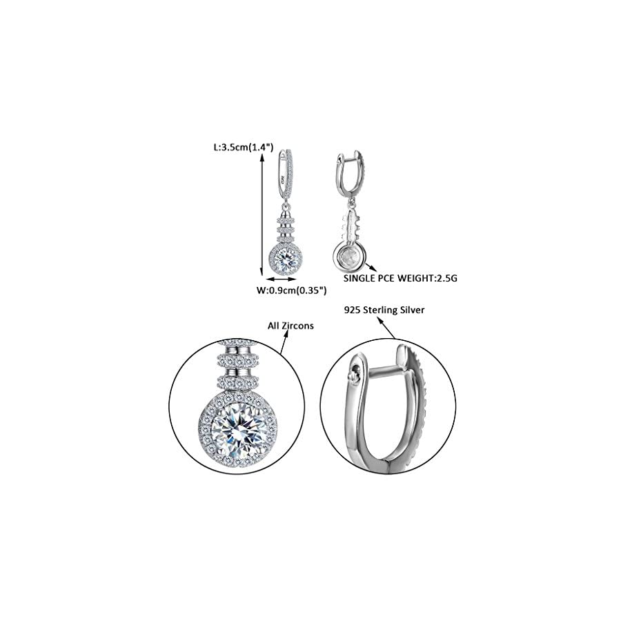 EVER FAITH Women's 925 Sterling Silver Round Cut CZ Prong Setting Wedding Chandelier Dangle Earrings Clear