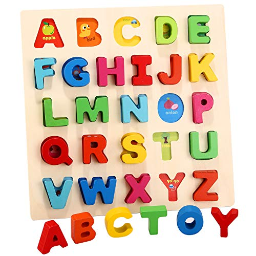 Humerry Kids Wooden Alphabet Puzzle Chunky Letters ABC Puzzles Board Montessori Toys for Boys and Girls