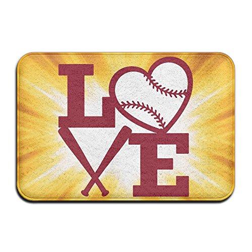 Youbah-01 Indoor/Outdoor Absorbs Mud Doormat With Love Heart Baseball Clipart Graphic Pattern For Livingroom